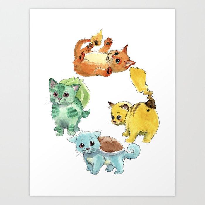 Starter Pokekittens Team Art Print
