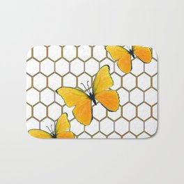 YELLOW BUTTERFLIES ON WHITE HONEY COMB PATTERN Bath Mat