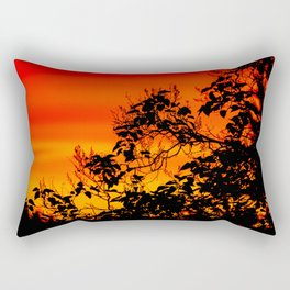 Silhouette of leaf with red autumn sky #decor #society6 Rectangular Pillow