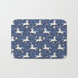 Floral Ponies (Dark Blue) Bath Mat