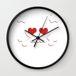 Skull Heart Valentines Day Pirate Flag Wall Clock