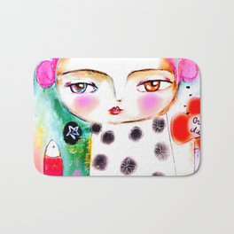 Dream a bit...every day! pink hair girl fish flowers Bath Mat