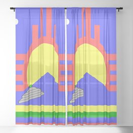 flag of Roswell with flying saucer Sheer Curtain