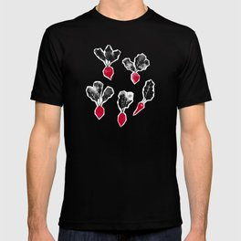 Radishes Stamps   Rose Dust Background T-shirt