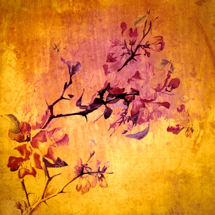 japanese crab apple flowers on golden tones Duvet Cover