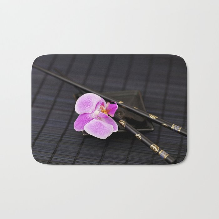 Zen pink Orchid flower on black Bath Mat
