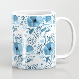 Flower bouquet with poppies - blue Coffee Mug