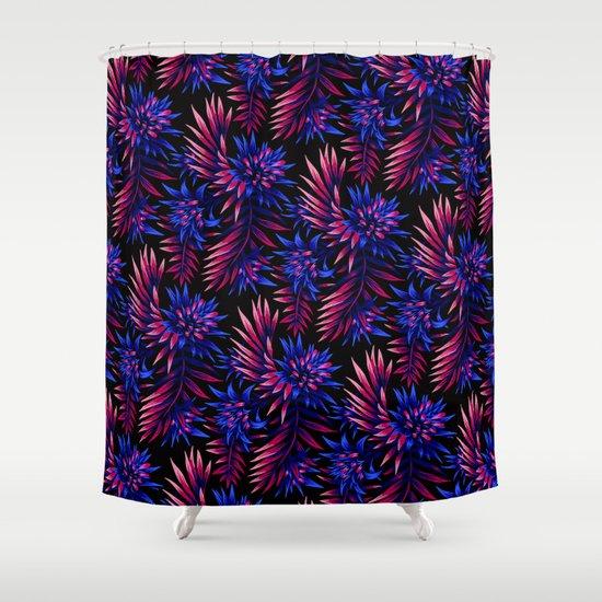 aechmea fasciata dark blue purple shower curtain by andrea stark society6. Black Bedroom Furniture Sets. Home Design Ideas