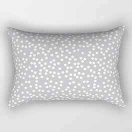 Silver Gray and White Polka Dot Pattern Rectangular Pillow
