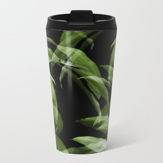 Tropical leaves. Pattern. Metal Travel Mug