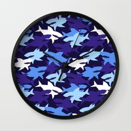 Blue Sharks Camouflage Pattern Wall Clock