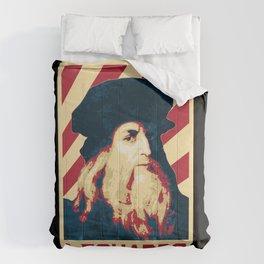 Leonardo Da Vinci Retro Propaganda Comforters