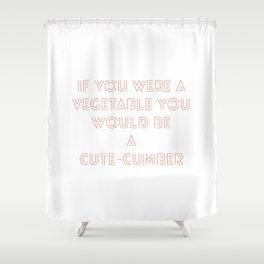 A cute veggie pickup line in Tinder brand red Shower Curtain