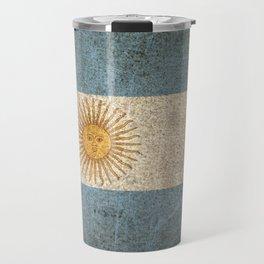 Old and Worn Distressed Vintage Flag of Argentina Travel Mug