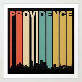 Vintage 1970's Style Providence Rhode Island Skyline Art Print