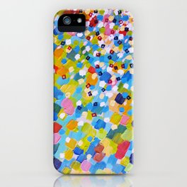 SWEPT AWAY 1 - Bright Colorful Rainbow Blue Ocean Waves Mermaid Splash Abstract Acrylic Painting iPhone Case
