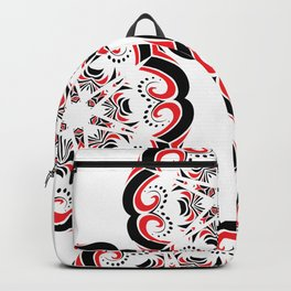 Floral Black and Red Round Ornament Backpack