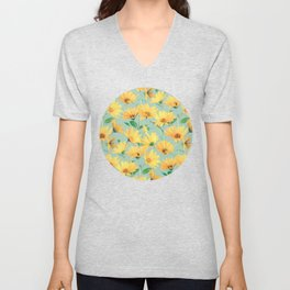 Painted Golden Yellow Daisies on soft sage green Unisex V-Neck