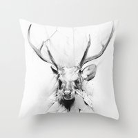 stag Throw Pillows featuring Stag by Alexis Marcou