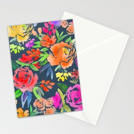 Floral Watercolor Pattern | Peonies and Roses | Dark Background Stationery Cards