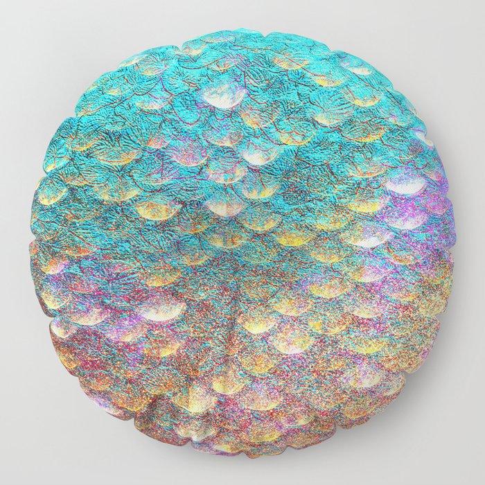 Aqua and Gold Mermaid Scales Floor Pillow