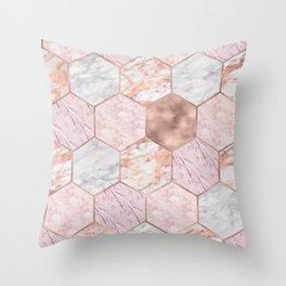 Rose gold princess marble hexagons Throw Pillow