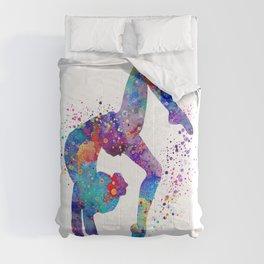 Girl Gymnastics Tumbling Colorful Watercolor Artwork Comforters