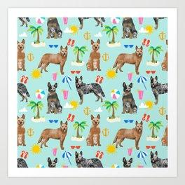 Australian Cattle Dog beach tropical pet friendly dog breed dog pattern art Art Print