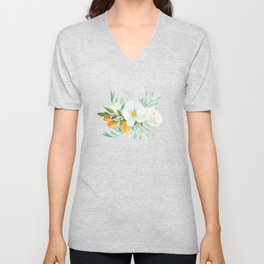 White Orchid Series: Orchid and Kumkwat Unisex V-Neck