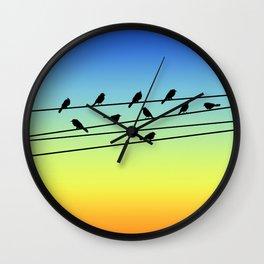 Birds on Power Lines Blue Yellow Sunset Gradient Wall Clock