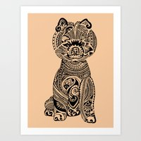 pomeranian Art Prints featuring Polynesian Pomeranian by Huebucket