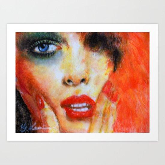 Title: Pastel Portrait - Orange Passion Art Print