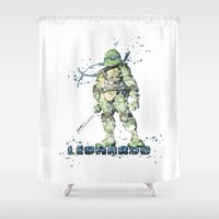 teenage mutant ninja turtles Shower Curtains featuring Leonardo Teenage Mutant Ninja Turtles by Carma Zoe