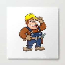 Cartoon of a Gorilla Handyman Metal Print