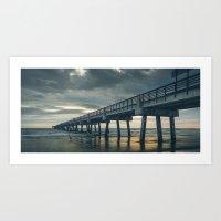 Sunrise Over Pier - Jacksonville Beach, Florida Art Print