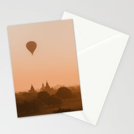 Dreamy Sunrise in Bagan, Myanmar temples with Hot Air Balloon | Asia Photography Stationery Cards