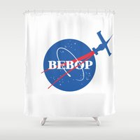 nasa Shower Curtains featuring Bebop Nasa by AngoldArts