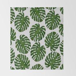 Monstera Leaf III Throw Blanket