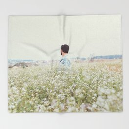 Man - Flowers - Field - Photography Throw Blanket