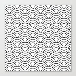 Wave Pattern in Black and White Canvas Print