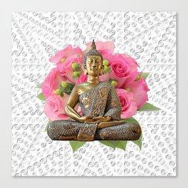 Buddha Rose Silver Mandala Canvas Print