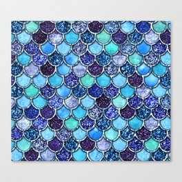 Colorful Teal & Blue Watercolor & Glitter Mermaid Scales Canvas Print