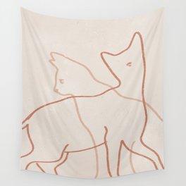 Cats Line Art Minimal Wall Tapestry