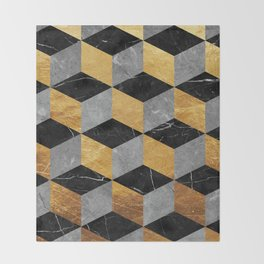 Geometrical marble and gold Throw Blanket