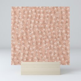 Elegant Tropical Faux Rose Gold Polka Dots Palm Tree Leaves Mini Art Print