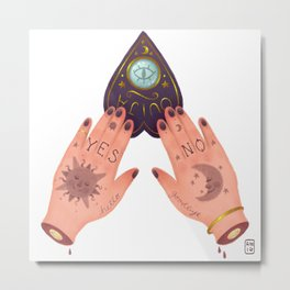 Tattooed Ouija Hands Planchette Metal Print