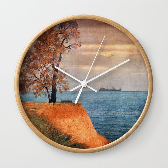 Autumn by the sea Wall Clock