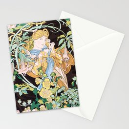 Alphonse Mucha Beautiful Blonde Woman Against a Vibrant Floral Background Stationery Cards