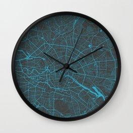 Berlin Map blue Wall Clock