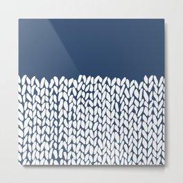 Half Knit Navy Metal Print